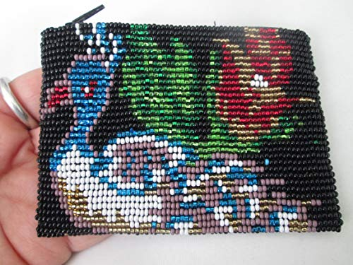 hand beaded glass seed beads Fair trade Guatemalan handmade blue purple peacock bird and red flower design with turquoise birds toucan pattern zippered coin purse credit card holder pouch bag