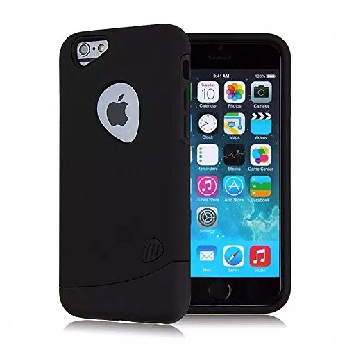 """Apple iPone 6 Hybrid Case, Slim Hybrid Glossy Armor Defender Rugged Scratch Proof High Impact Dirt/Shockproof Gummy Dual Layers Perfect Protect Case for iPhone 6 4.7"""" New iP6 (Black)"""
