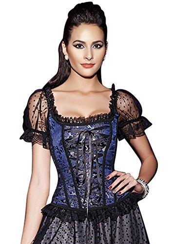 minifaceminigirl Women's Renaissance Steampunk Boned Lace up Overbust Corset Bustier Top (L, Blue) (Bustier Trim)