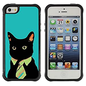 Suave TPU GEL Carcasa Funda Silicona Blando Estuche Caso de protección (para) Apple Iphone 5 / 5S / CECELL Phone case / / Business Cat Blue Painting Art Funny /