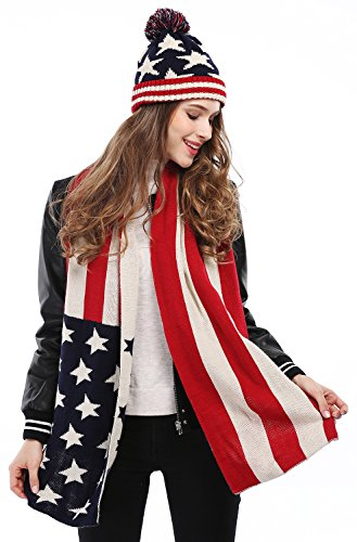 Women's Lady's USA American Flag Star Print Red White Knitted Hat Beanie and Scarf - Red Hat Flag
