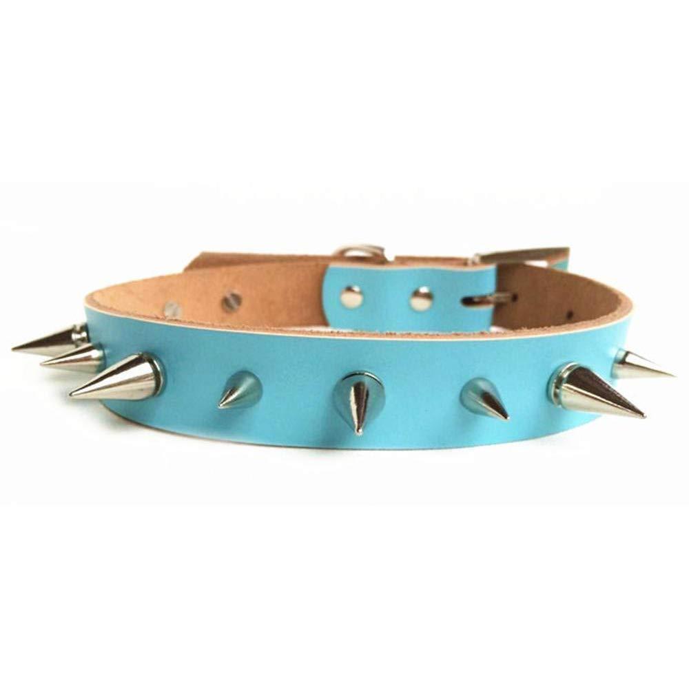 Dixinla Collare per cane Cane di cuoio cuoio cuoio singola riga spike catena collare anti-mordace 641f5e