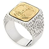 GESTALT COUTURE Unique Tree of Life Signet Ring. Platinum Style Surgical Stainless Steel with 18kt Gold Plating. RSS24TOL65