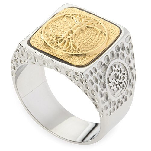 Unique Tree of Life Signet Ring. Platinum Style Surgical Stainless Steel with 18kt Gold Plating. RSS24TOL12