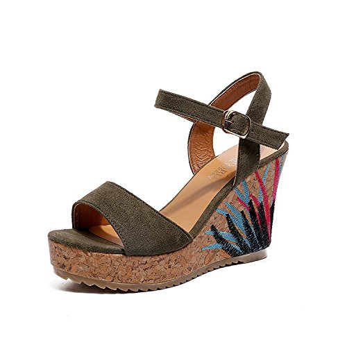 Summer GTVERNH Sandals The Sandals High Toe Versatile And Dew Green 37 In Straps Heels Waterproof rrCwqRE