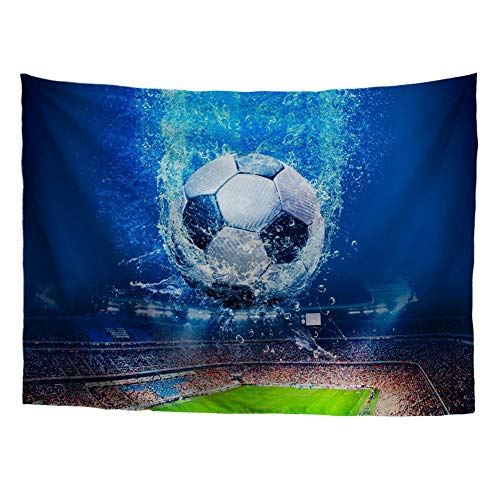 HUGS IDEA Tapestries Vintage Sports Theme Wall Hanging Splashing in Water Soccer Ball Game Field Fans Cheering Prints Abstract Home Decor Artistic Wall -