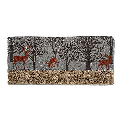 Tag Deer - tag - Woodland Deer Estate Boot Scrape Coir Mat, Decorative All-Season Mat for the Front Porch, Patio or Entryway, Gray