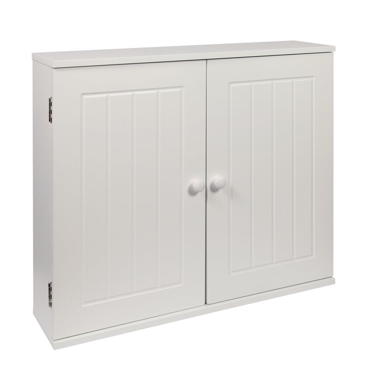 Wood 50x60x15 cm 50 x 60 x 15cm woodluv MDF White Double Wall Cabinet Cupboard Storage Unit