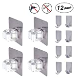 Broom Mop Holder, Flecom Broom Holder Wall Mount with Adhesive Hooks Heavy Duty Wall Hooks Waterproof Wall Hangers for Kitchen Bathroom Wardrobe and Home(12 Pack)