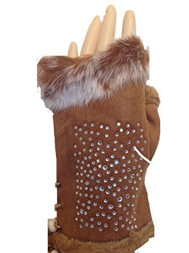 Pamper Yourself Now Women's Faux Fur Trimmed Fingerless Gloves Sparkle One Size Brown (Sparkle Fingerless Gloves)