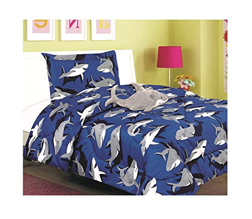 (All American Collection New 3pc Children's Comforter Set with Furry Toy (Twin, SHARK))