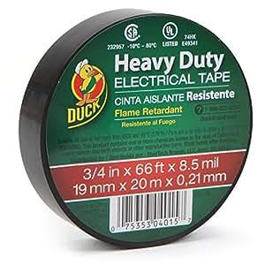 Duck Brand 393120 Heavy Duty Electrical Tape, 0.75-Inch x 66-Feet, Single Wrapped Roll, Black
