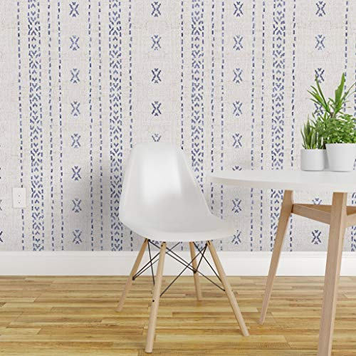 Spoonflower Peel and Stick Removable Wallpaper, Boho Stripe French Farmhouse Shabby Chic Effortless Style Bohemian Print, Self-Adhesive Wallpaper 24in x 108in Roll