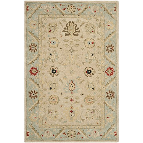 Safavieh Anatolia Collection AN569C Handmade Traditional Oriental Natural and Soft Turquoise Wool Area Rug (4' x 6')