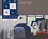 Kids Airplane Stitch Quilt Bedspread Set Twin Full Queen Coverlet and Pillow Sham Cotton Chambray Boy Teens Cessna Plane Biplane Embroidered Quilted Bedding (Navy, Queen)
