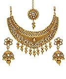 Bindhani Bollywood Style Traditional Ethnic Jewelry Gold Plated Indian Wedding Kundan Choker Bridal Bridesmaids Necklace Set with Jhumki Earrings Tikka for Women