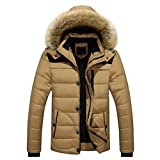 HOT ! YANG-YI Men Warm Blouse Winter Thick Jacket Plus Fur Hooded Coat Jacket (XL, Khaki)