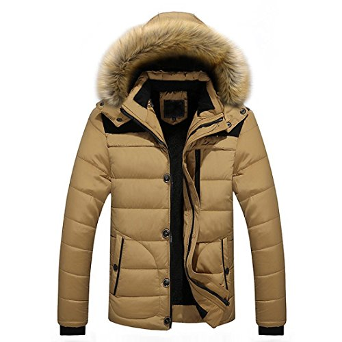 HOT ! YANG-YI Men Warm Blouse Winter Thick Jacket Plus Fur Hooded Coat Jacket (XL, Khaki) by YANG-YI Mens