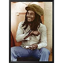 Professionally Framed Bob Marley (Sitting, Rolling Joint) Music Poster Print - 24x36 with RichAndFramous Black Wood Frame