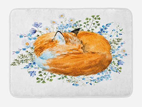 Ambesonne Fox Bath Mat, Sleeping Fox in Watercolors Hand Drawn Fresh Wild Flowers Blossoms Artwork, Plush Bathroom Decor Mat with Non Slip Backing, 29.5 W X 17.5 L Inches, Orange Blue Olive Green