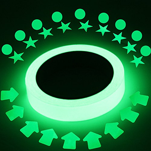 Captank Luminous Glow Tape in The Dark 16 ft x 0.8 inch Removable Photoluminescent Green Glow Tape for Theatre Stage,Party,Safety Egress exit Marker with Bonus 27 pcs dots,Stars,Arrow (Photoluminescent Safety Tape)