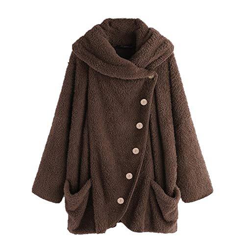 AOJIAN Women Jacket Long Sleeve Outwear Hooded Plush Button Pure Color Pocket Sweater Coat (XXXX-Large, Dark -