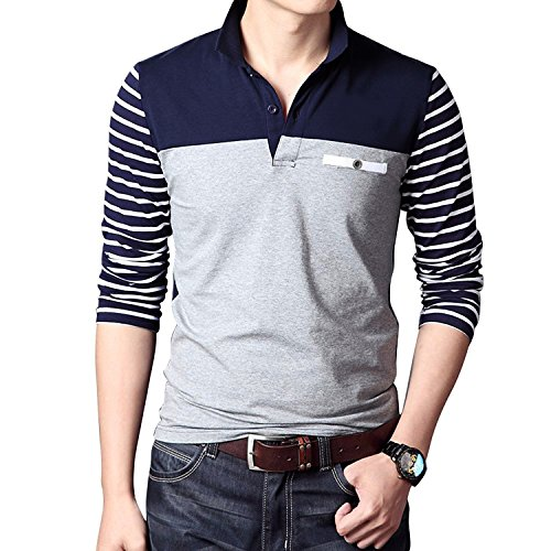COOFANDY Mens Long Sleeve Polo Shirt Slim Fit Casual Striped Polo T Shirts