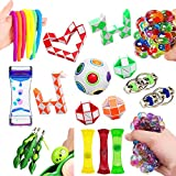 Fidget Toys 21 Pack Bundle Sensory Toys Set-Rainbow Magic Ball/Liquid Motion Timer/Bike Chain/Stress Balls/Stretchy String Stress Relief Hand Toys for Children and Adults with ADHD ADD OCD Autism