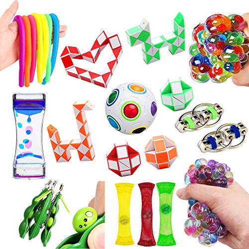 Bike Chain Sets - Fidget Toys 21 Pack Bundle Sensory Toys Set-Rainbow Magic Ball/Liquid Motion Timer/Bike Chain/Stress Balls/Stretchy String Stress Relief Hand Toys for Children and Adults with ADHD ADD OCD Autism