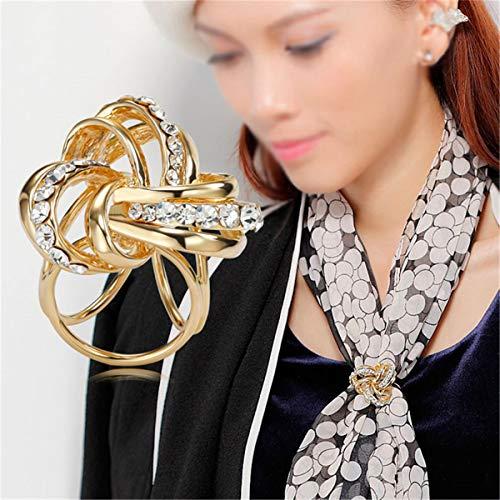 Slide Gold Ring - VIEEL Elegant Modern Simple Design Women's Triple-ring Diamante Metallic Silk Scarves Clip Scarf Ring Chiffon Buckle (gold)