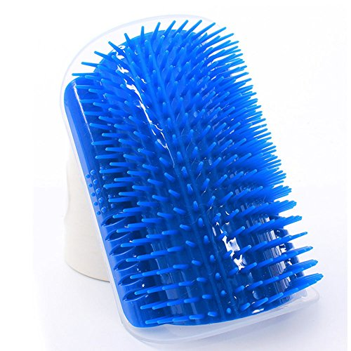 Zlimilo Pet Toy for Dog Cat Hair Massage Brush to Wall, Catnip Self-Groomer Hair-Remover, Blue