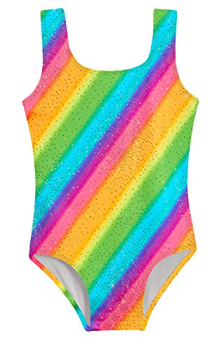 City Threads Girls Leotard Bodysuit In Fun Multi Colors Pattern Metallic Mermaid Print Shiny Glittery For Gymnastics Dance Ballet In Tank Short Sleeve, Rainbow, 3T