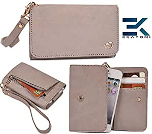 Samsung Rex 90 S5292 Genuine Leather Wristlet Phone Holder/Wallet |GREY| Ekatomi&153;