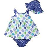 Gerber Baby Girls' Sundress, Bloomer and Hat Set, Polka Dots, 6-9 Months