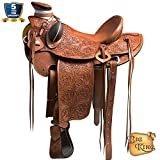 HILASON 15 16 17 in Western Horse Wade Saddle Leather Ranch Roping Oiled