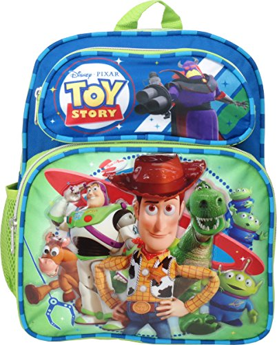"Price comparison product image Disney Pixar Toy Story 12"" Canvas Green & Blue School Backpack"