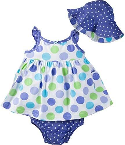 Gerber Baby Girls' Sundress, Bloomer and Hat Set