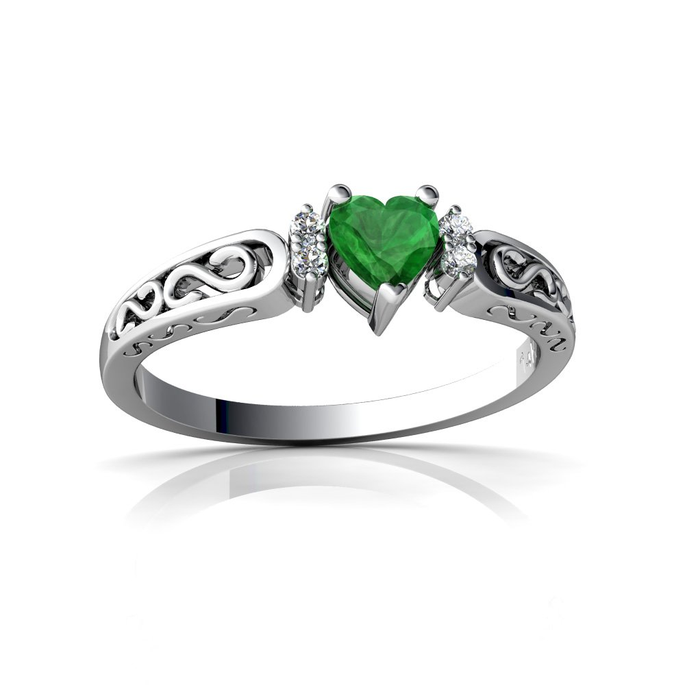 14kt White Gold Emerald and Diamond 4mm Heart filligree Scroll Ring - Size 6.5