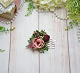 Blush Burgundy Comb Wedding Floral Hair Piece Rustic style Bridal hair comb for women