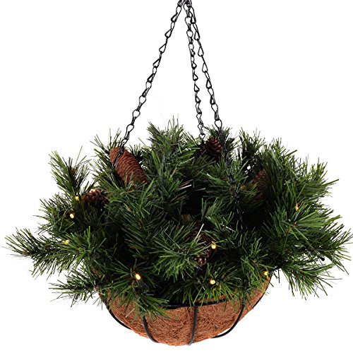 nging Basket Battery-operated LED Lights & Pine Cones 12