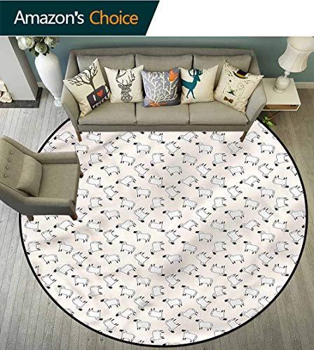 - RUGSMAT Sheep Warm Soft Cotton Luxury Plush Baby Rugs,Cartoon Farm Animals Super Soft Living Room Bedroom Carpet Woman Yoga Mat Round-47