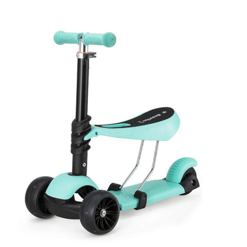 ZY Kinder-Scooter mit Frosch, Faltbare Dose für 3-in-1-Pedal-Walker,LightGrün LakeGrün