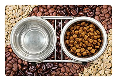 Ambesonne Coffee Pet Mat for Food and Water, Selection of Fresh Roasted and Unroasted Coffee Beans in a Diagonal Stripe Pattern, Rectangle Non-Slip Rubber Mat for Dogs and Cats, Brown Cream