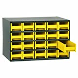 Akro-Mils 19320 17-Inch W by 11-Inch H by 11-Inch D 20 Drawer Steel Parts Storage Hardware and Craft Cabinet, Yellow Drawers