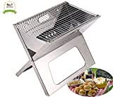 #1 Compact Notebook Portable & Folding Flat Tailgating Stowaway Fire BBQ Charcoal X Grill - Stainless Steel