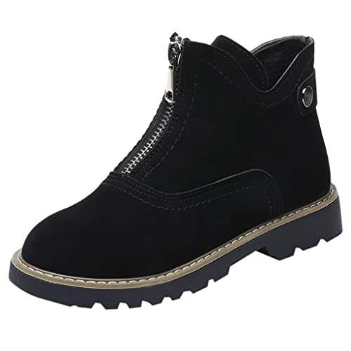 ... Primavera 2019 PAOLIAN Botas Chukka Tobillo Altas Tacón Ancho Bajo Casual Elegante Zapatos de Vestir Fiesta Vintage Terciopelo con Cremalleras Negro: ...
