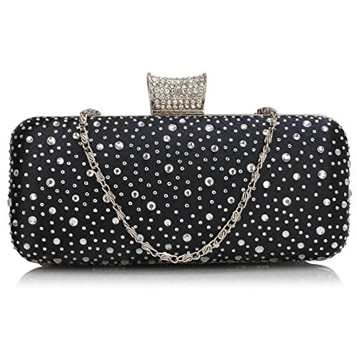 LeahWard Women's Sparkly Evening Clutch Bag Purse For Prom Night Out Pary CWE00286 NAVY Sparkly Crystal Satin Evening Bag