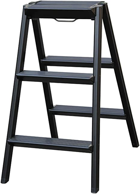 QQXX Hogar Escalera Plegable de Aluminio pequeña Escalera Gruesa multifunción Diseño Original Taburete de Almacenamiento (Color: Negro): Amazon.es: Hogar