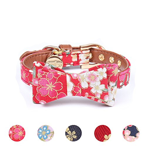 Leepets Small Dog Collar with Bow Tie Cute Leather Puppy Bow Collar for Girl Cat Collar for Kitten Adjustable Metal Buckle,(Small, Pink Floral)