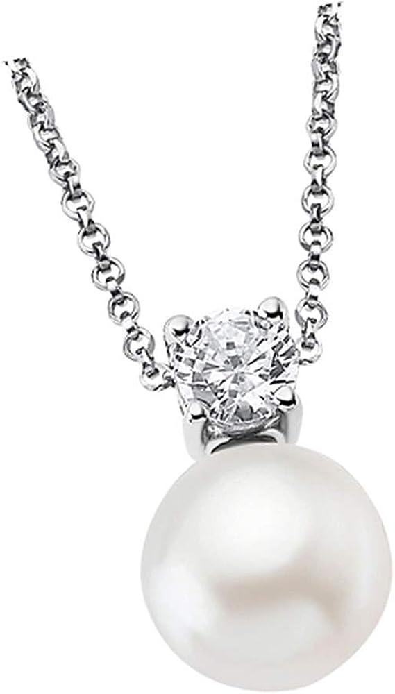 Collar Lotus Silver con perla LP1801-1/1 con circonita para mujer, plata 925 JLP1801-1-1
